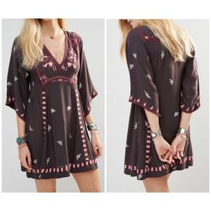 Free People Tulum Embroidered Mini Dress V-neck